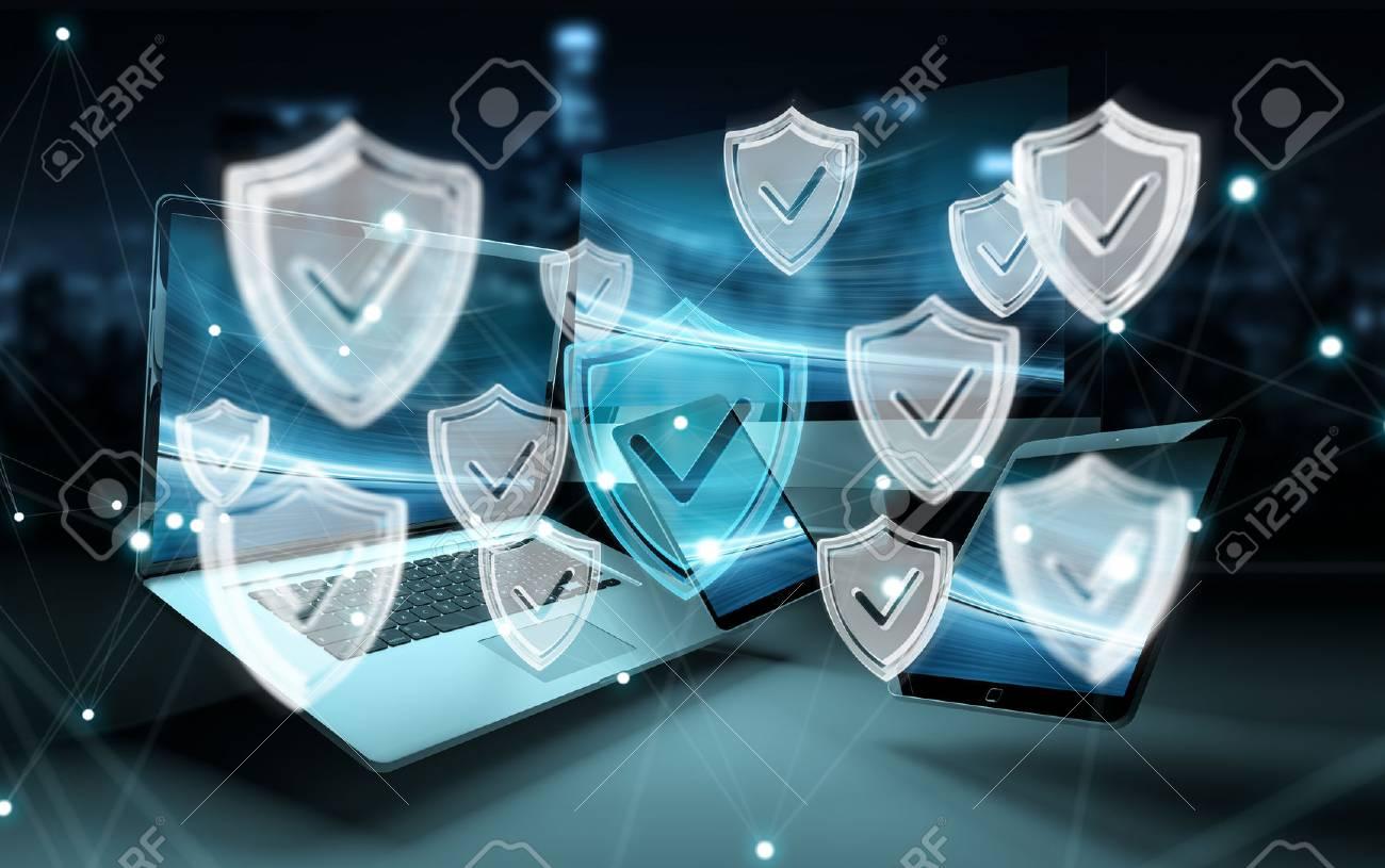 Antivirus interface over modern tech devices in dark background 3D rendering - 87656574