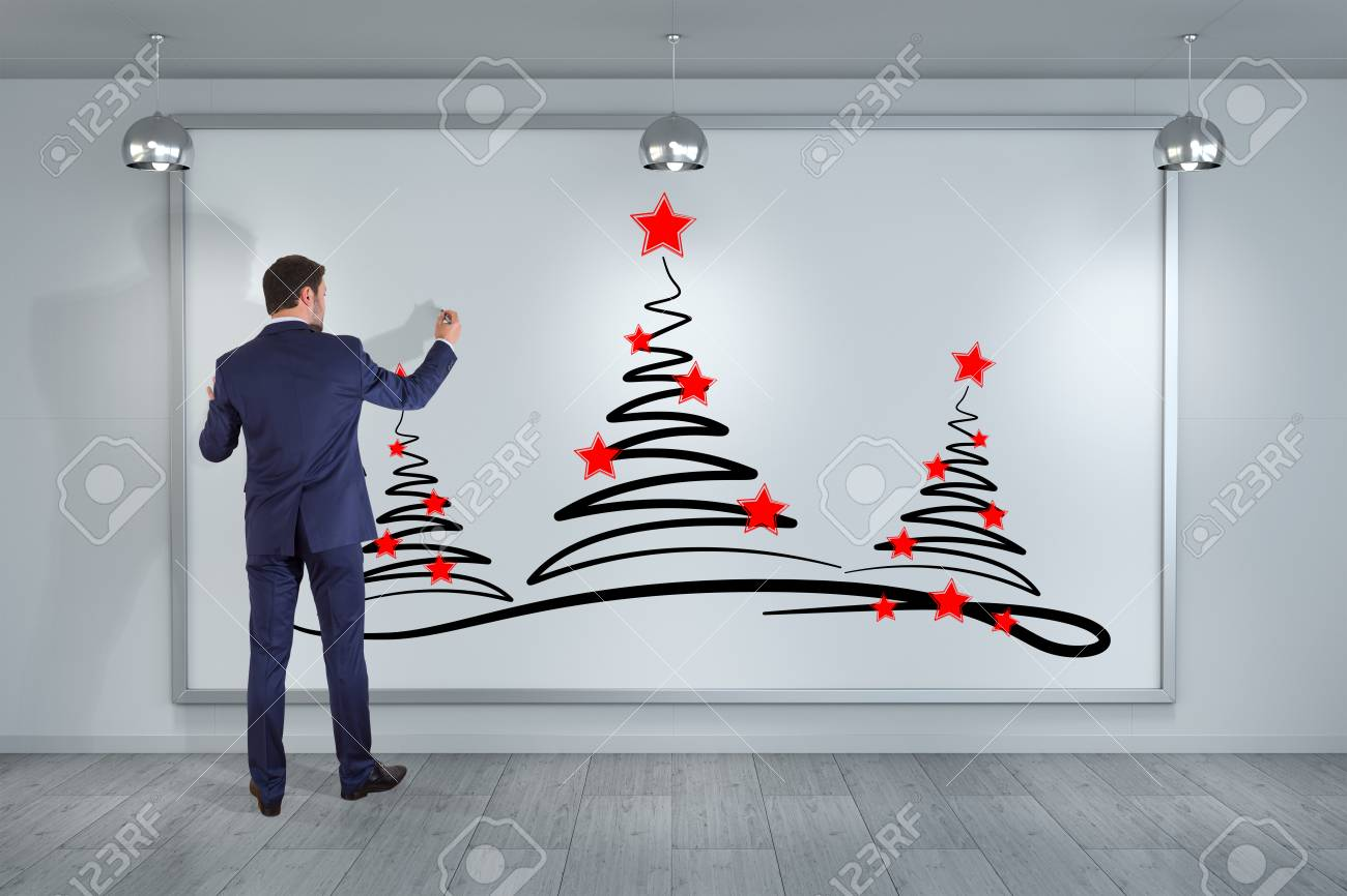 Christmas Trees Drawing.Businessman In Modern Interior Drawing Christmas Trees Sketch