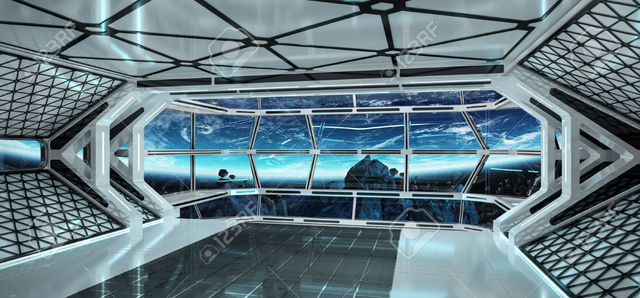 Spaceship bright interior with view on planet Earth 3D rendering - 88788093