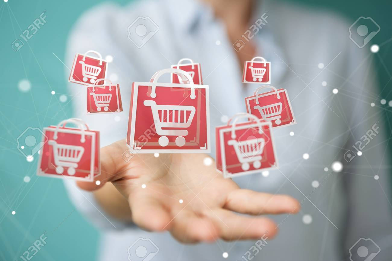 Businesswoman on blurred background using digital shopping icons 3D rendering - 89764983