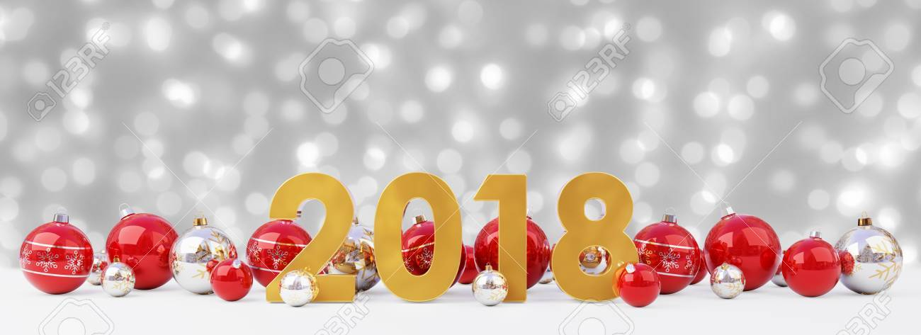 2018 new year eve with red and white christmas baubles on snow background 3d rendering stock