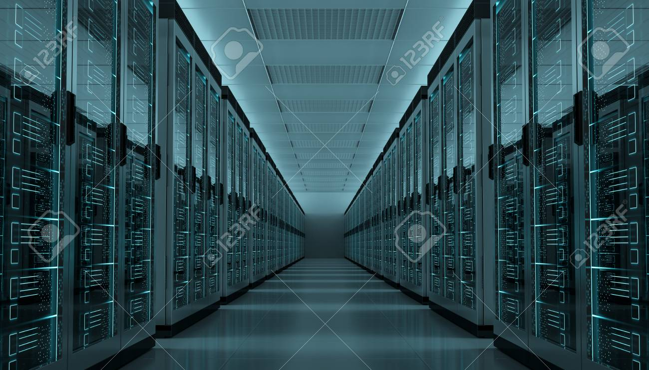 Dark server room data center storage interior 3D rendering - 90516293