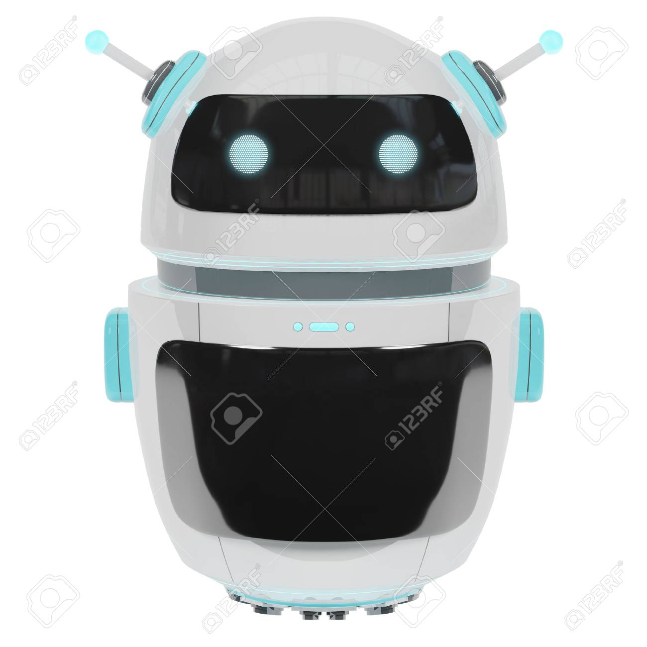 Futuristic digital chatbot isolated on white background 3D rendering - 90938606