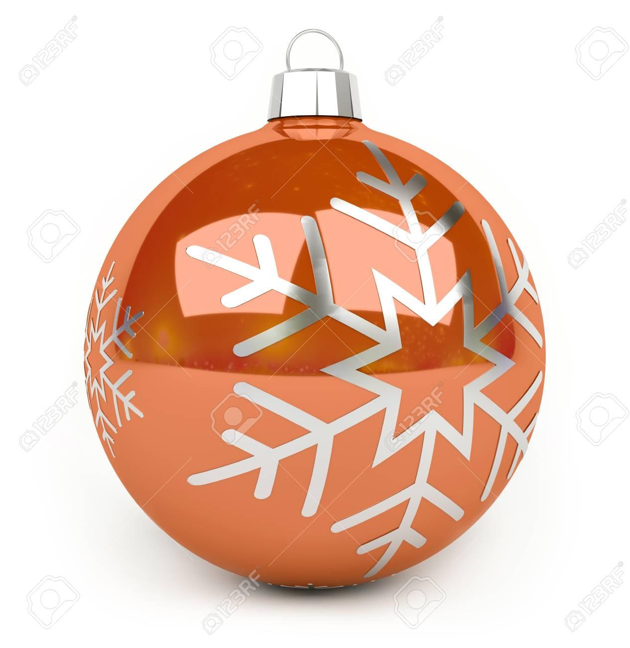 Boule De Noel Orange Boule De Noël Orange Sur Fond Blanc Rendu 3D Banque D'Images Et