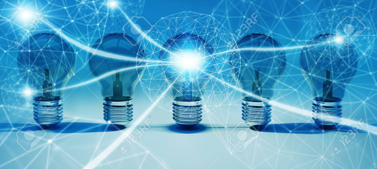 Bright lightbulbs and connections lined up on blue background 3D rendering - 92850242