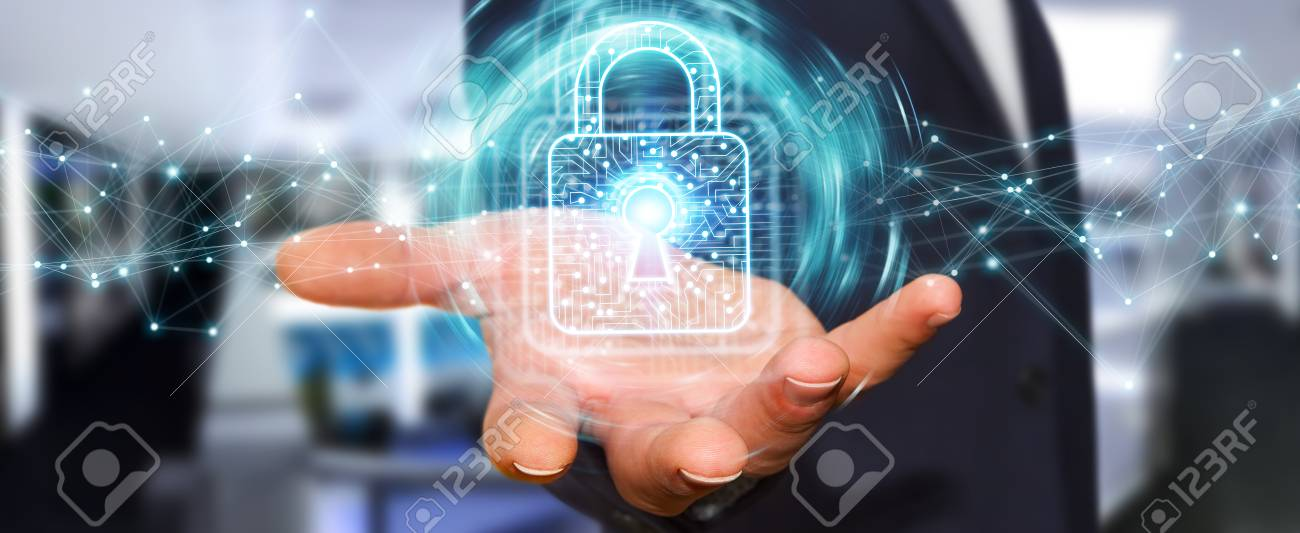 Businessman on blurred background using digital padlock with data protection 3D rendering - 94369609