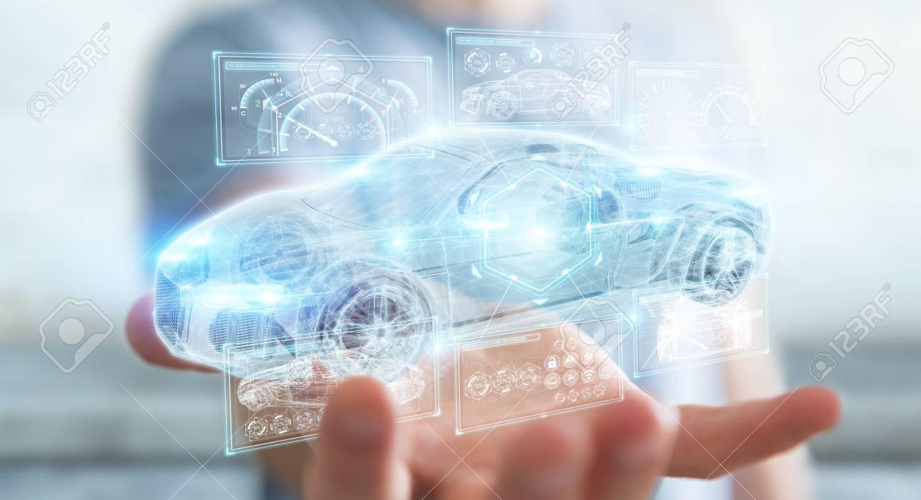 Businessman on blurred background modern smart car interface 3D rendering - 97460889
