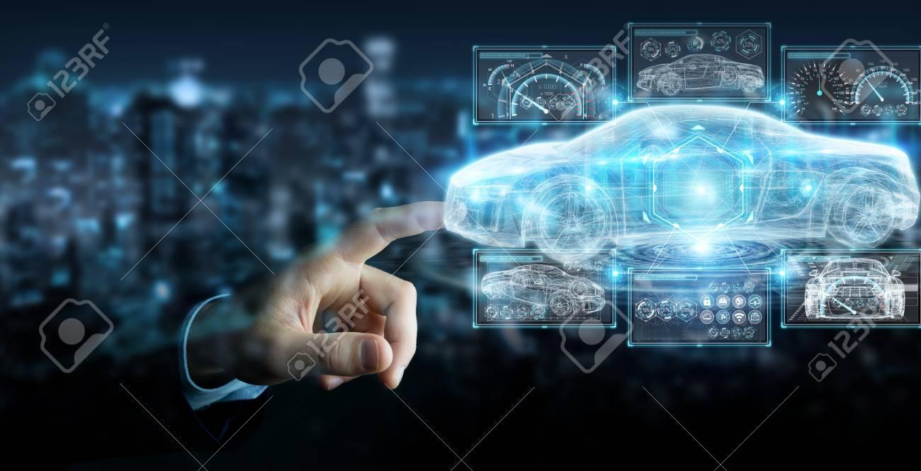 Businessman on blurred background modern smart car interface 3D rendering - 97460995