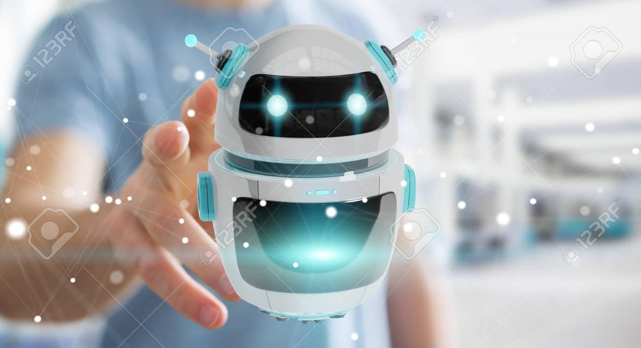 Businessman on blurred background using digital chatbot robot application 3D rendering - 97461152
