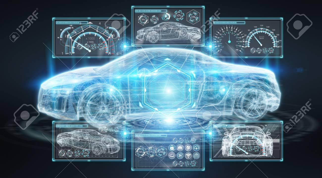Modern digital smart car interface isolated opn black background 3D rendering - 97448809