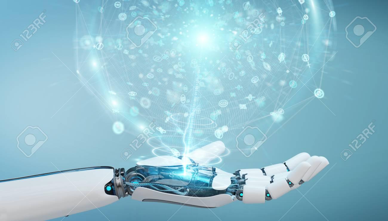 White humanoid hand on blurred background using digital global network 3D rendering - 100419563