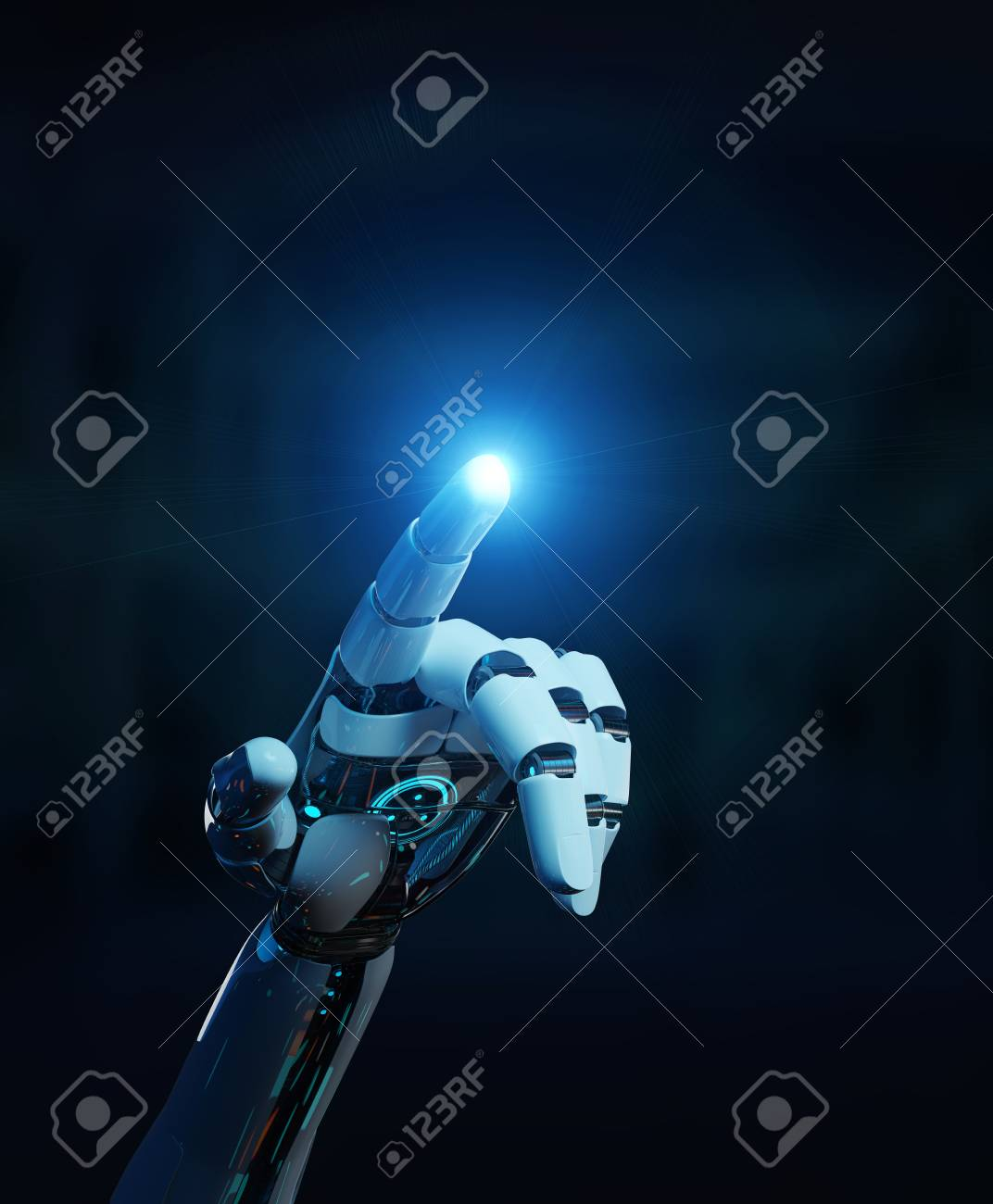 White cyborg pointing his finger isolated on dark background 3D rendering - 106081157