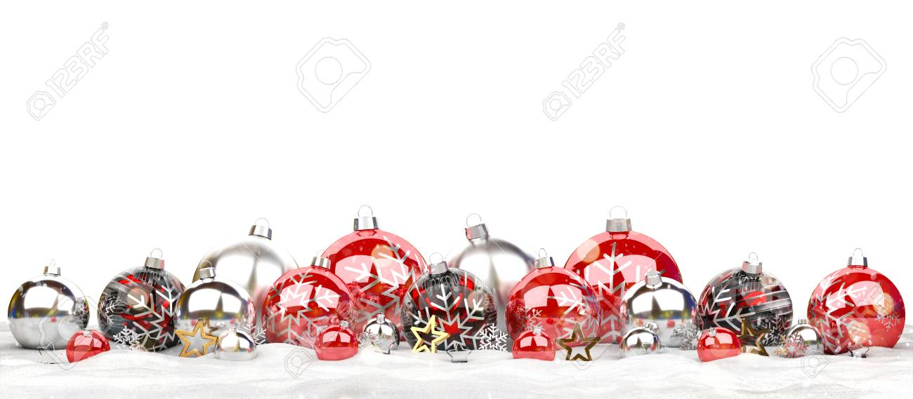 Red and silver christmas baubles isolated on white background 3D rendering - 111480905