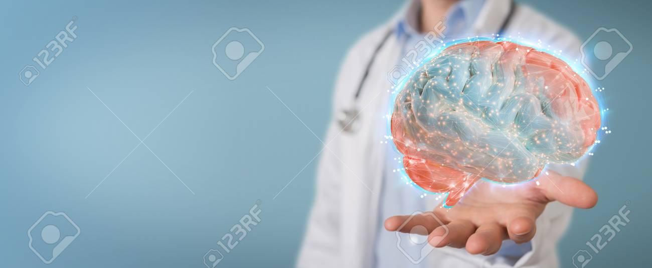 Doctor on blurred background using digital brain scan hologram 3D rendering - 113688861