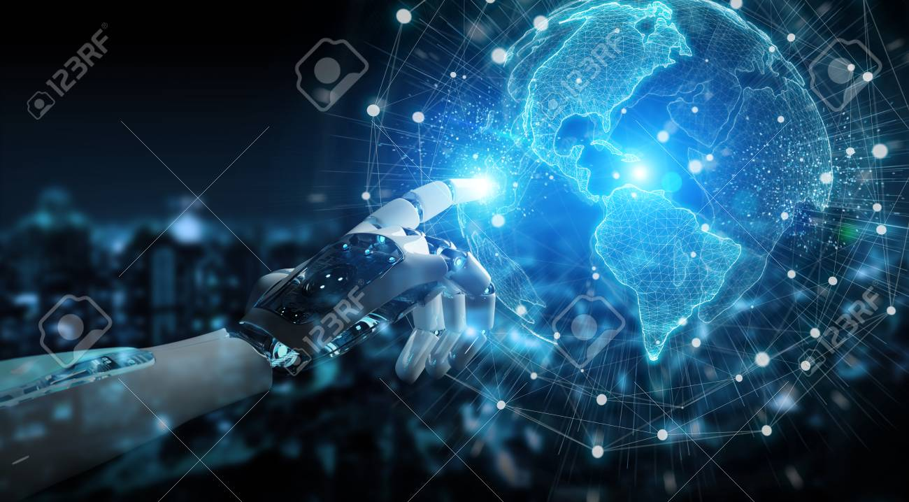 Intelligent robot cyborg using digital globe interface with his hands 3D rendering - 115797377