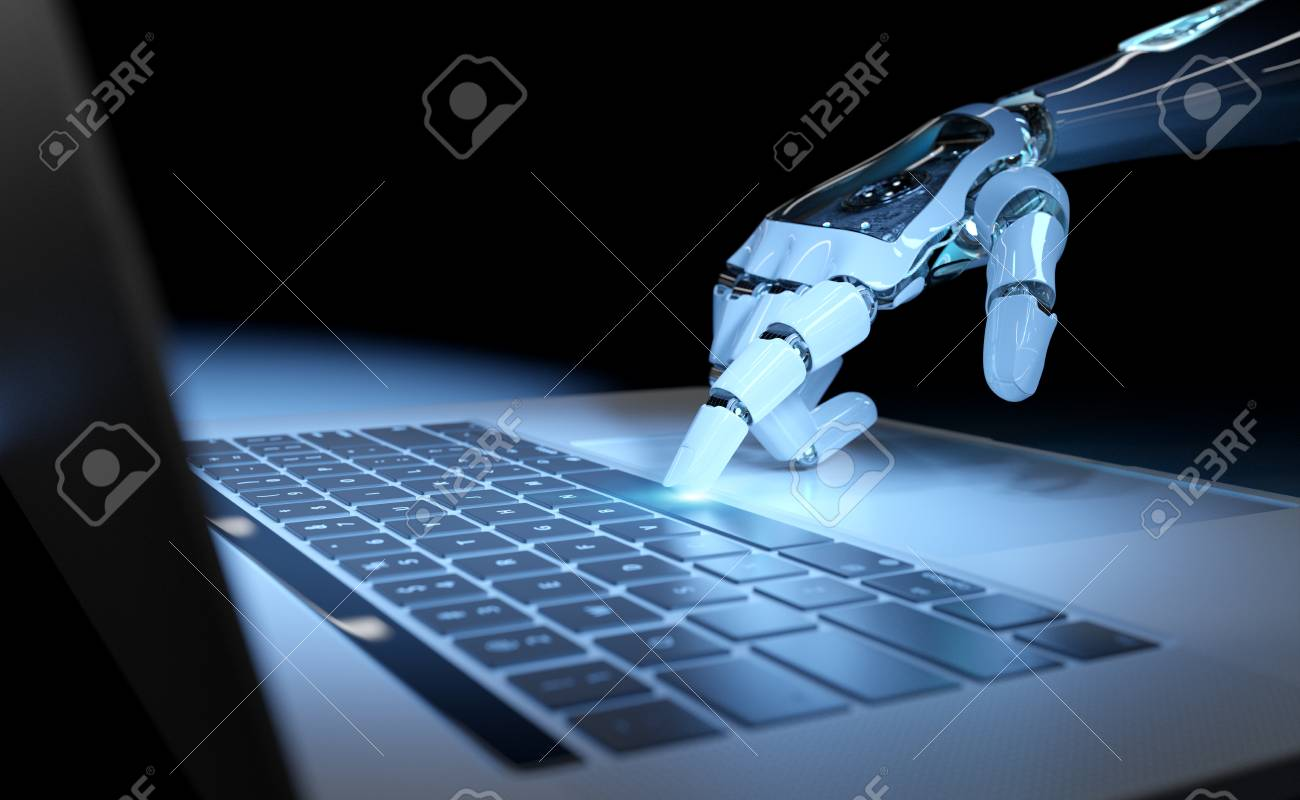 Cyborg hand pressing a keyboard on a laptop in dark blue background 3D rendering - 115798598