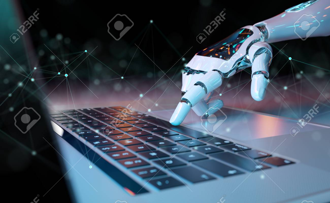 Robotic cyborg hand pressing a keyboard on a laptop 3D rendering - 116351019