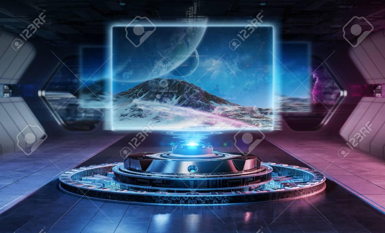 Modern billboard mockup in futuristic interior spaceship 3d rendering - 116823140