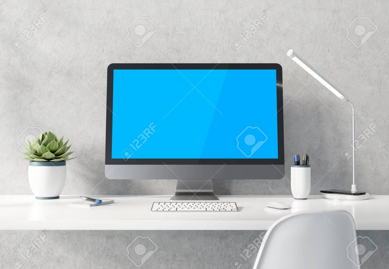 Modern black and silver computer on white desktop and concrete interior mockup 3D rendering - 120744758