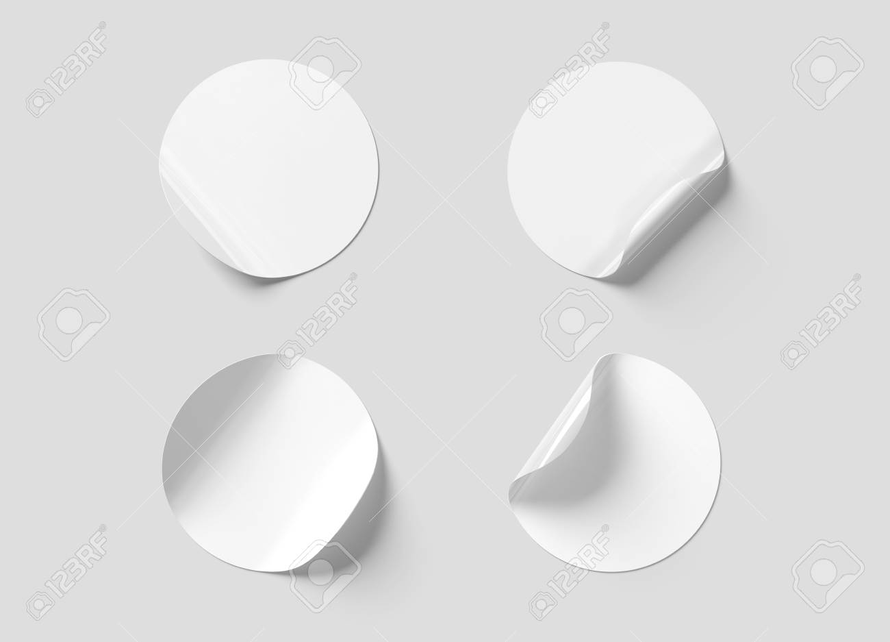 Blank curled sticker mockup isolated on white background 3D rendering