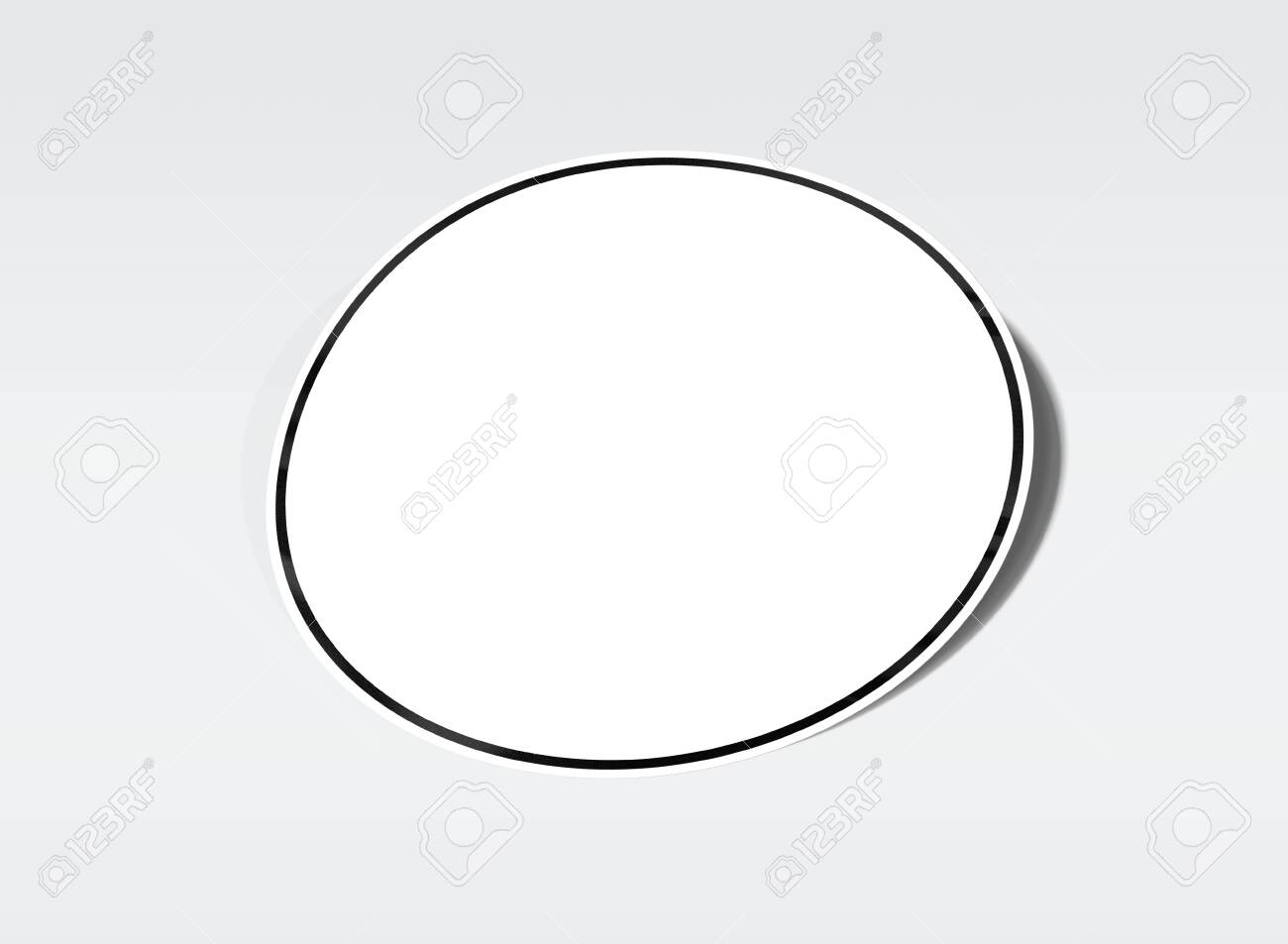 Rounded shaped sticker mockup isolated on white background 3D