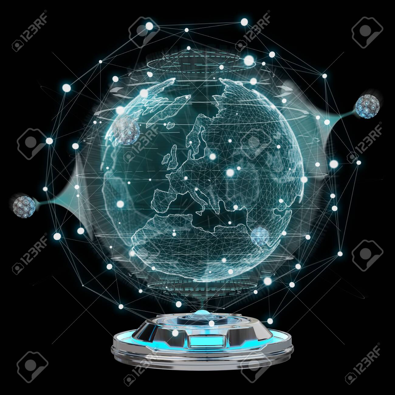 Globe network hologram projector with digital connection on dark