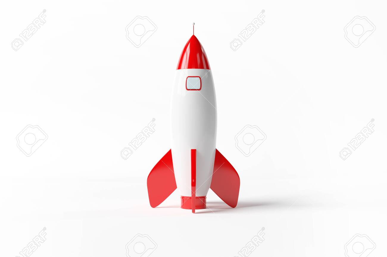 Old school style rocket isolated on white background 3D rendering - 125333331