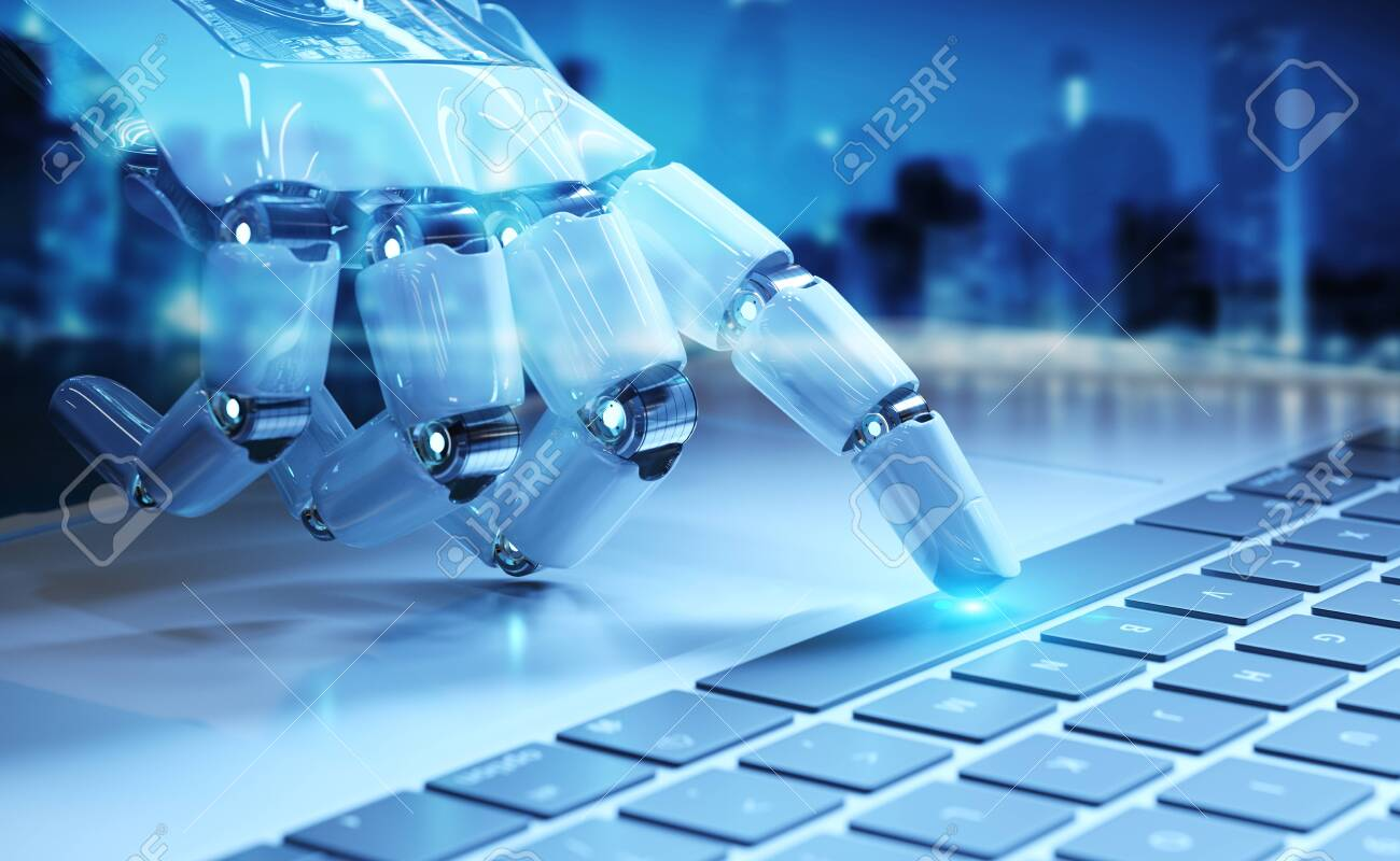 Cyborg Hand Pressing A Keyboard On A Laptop In Dark Blue Background Stock Photo Picture And Royalty Free Image Image 125806410