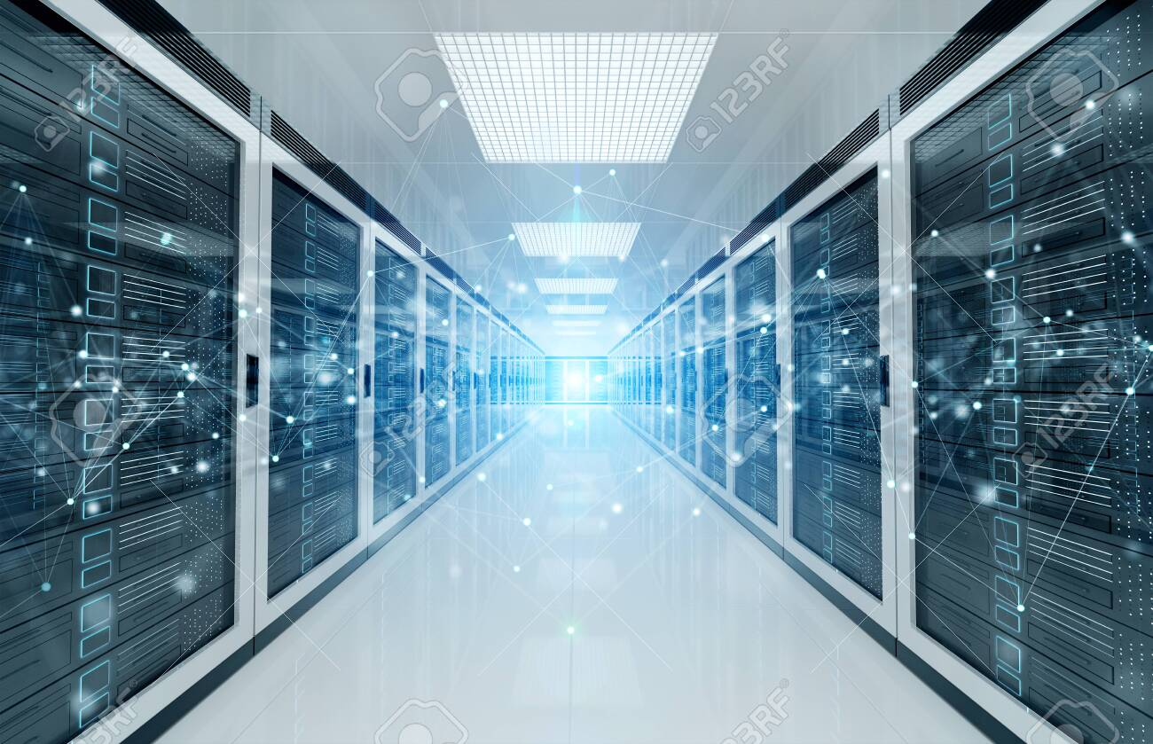 Connection network in white servers data center room storage systems 3D rendering - 128260807