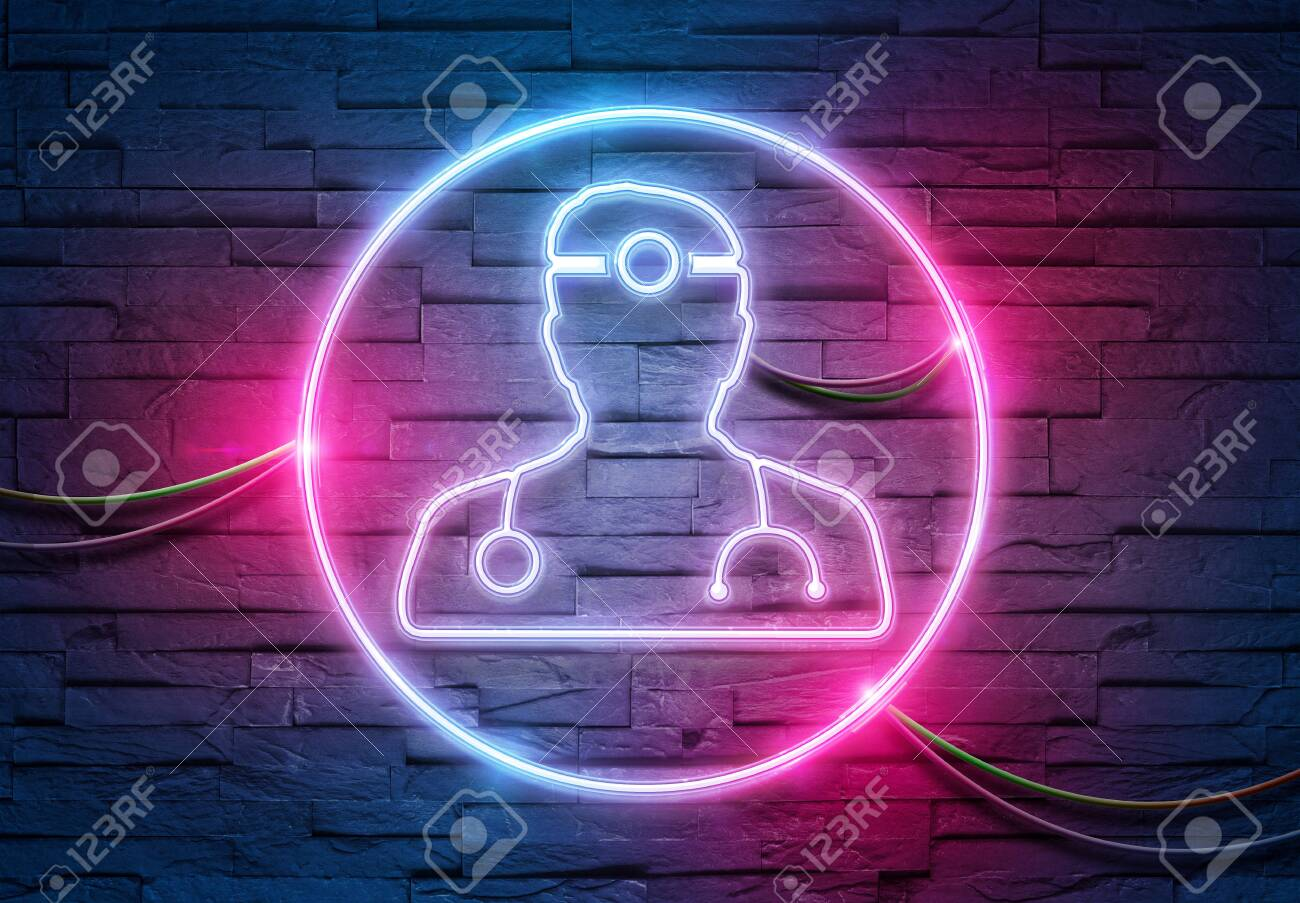 Doctor neon tubes icon illuminating a brick wall with blue and pink glowing light 3D rendering - 150022455