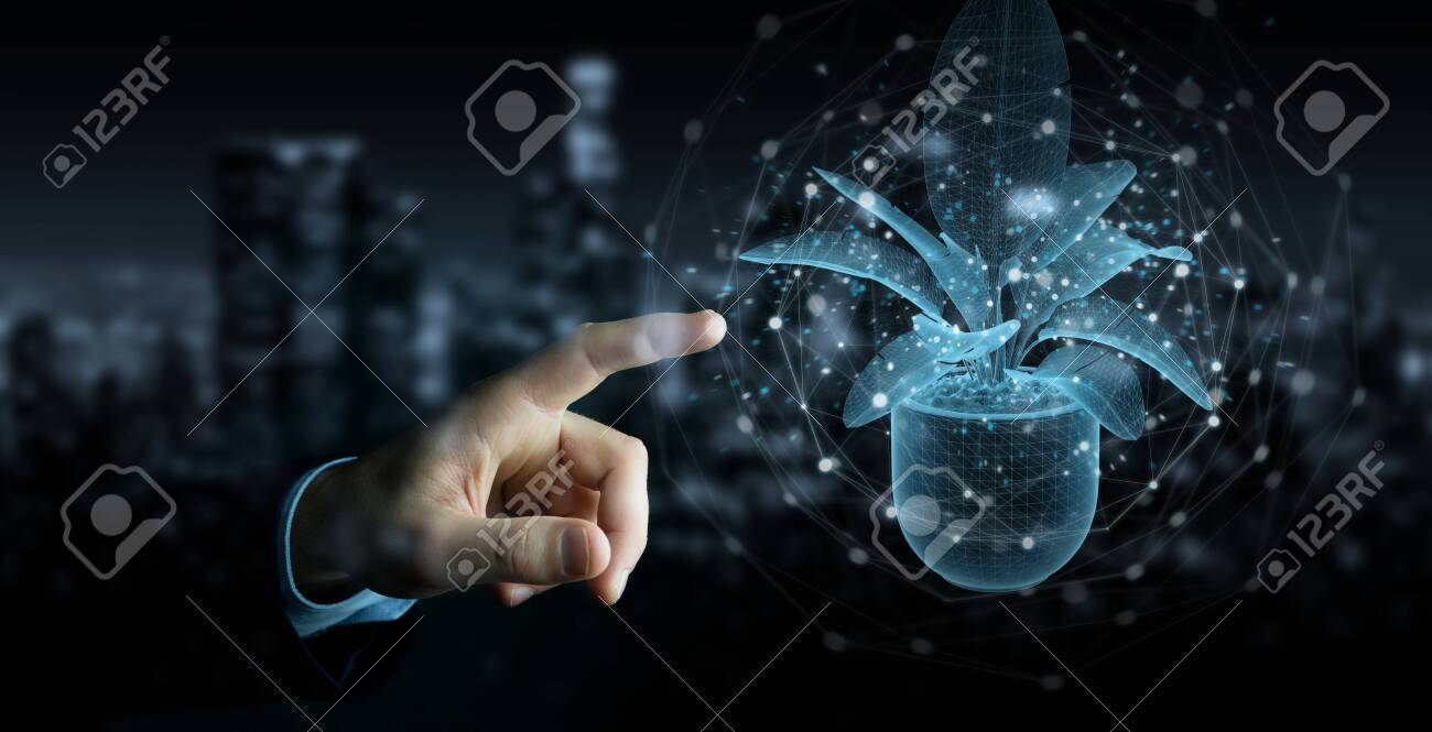 Man hand on dark background holding and touching holographic projection of a plant with digital analysis 3D rendering - 150453036