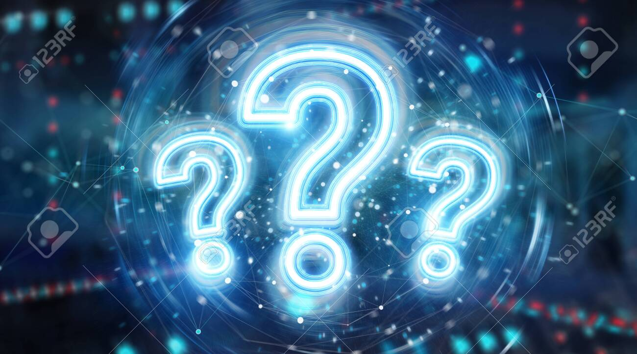 Digital question marks holographic interface on blue background 3D rendering - 150516852