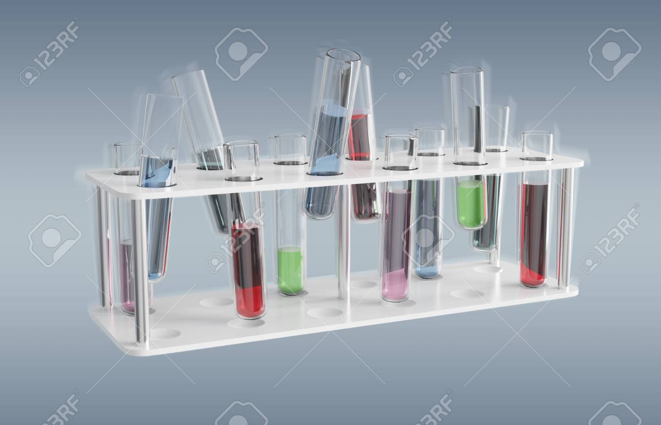 Floating medical analysis in tubes samples on grey background 3D rendering - 150445324