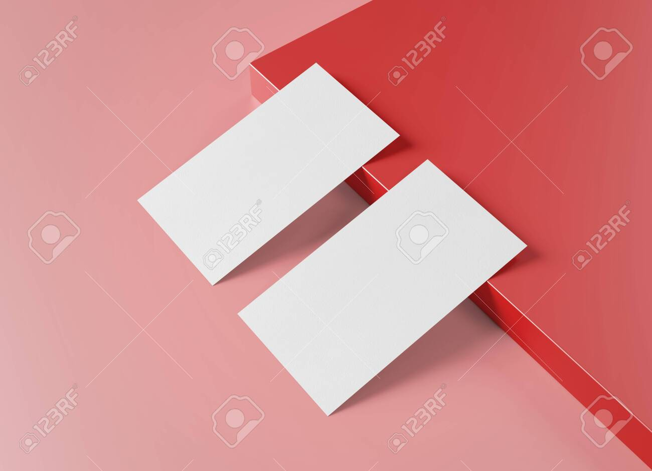 Two white US business card Mockup laying on red background. American size calling card front and back laying on colored surface 3D rendering - 150516890