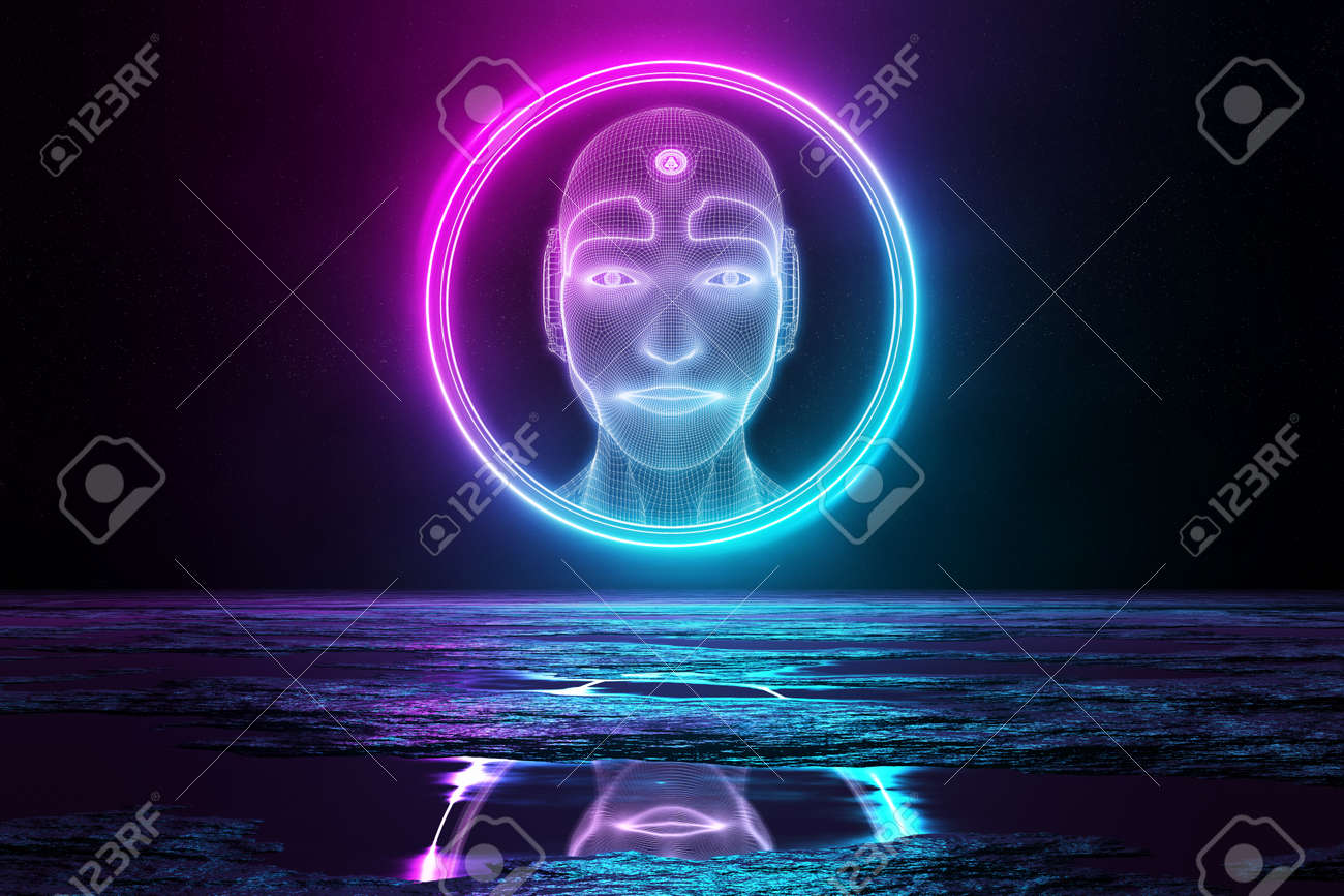 Robot head hologram in circle illuminating reflecting floor with blue and pink neon light 3D rendering - 150517878