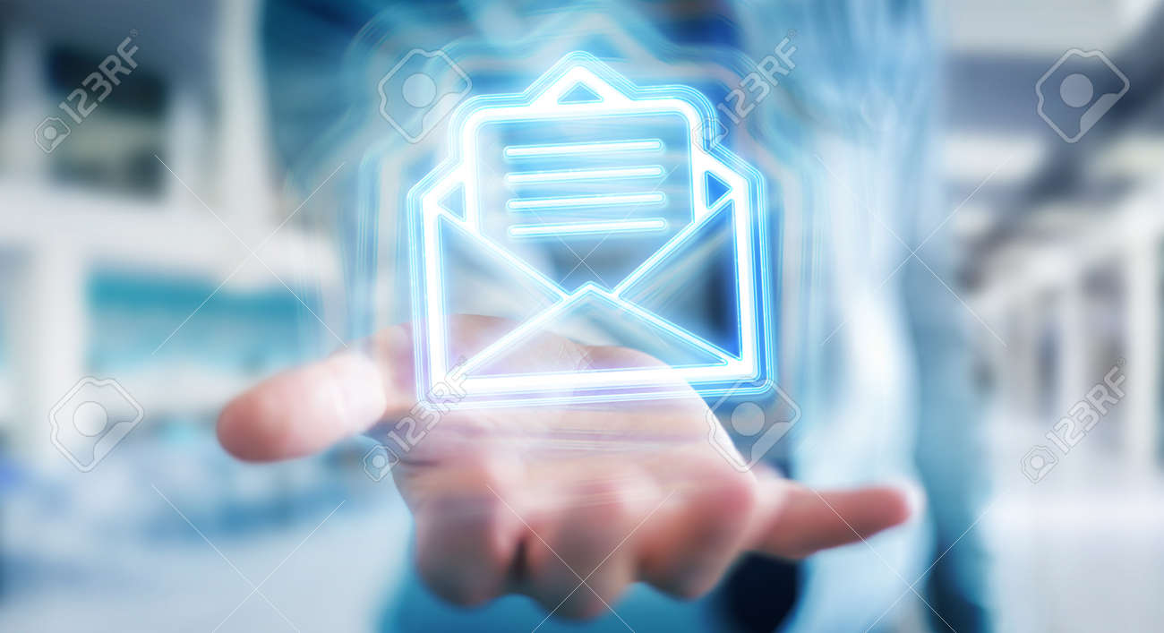 Man on blurred background using digital email blue holographic interface 3D rendering - 150517880