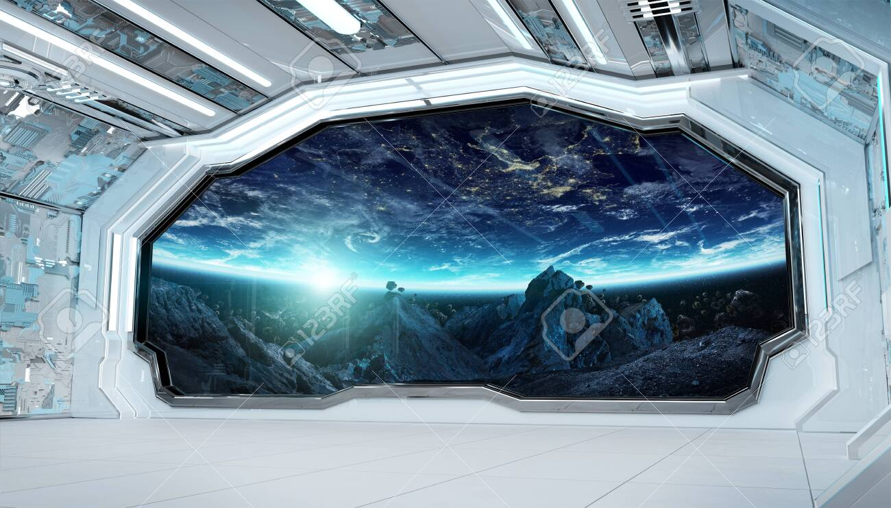White blue spaceship futuristic interior with window view on space and planets 3d rendering - 150517881