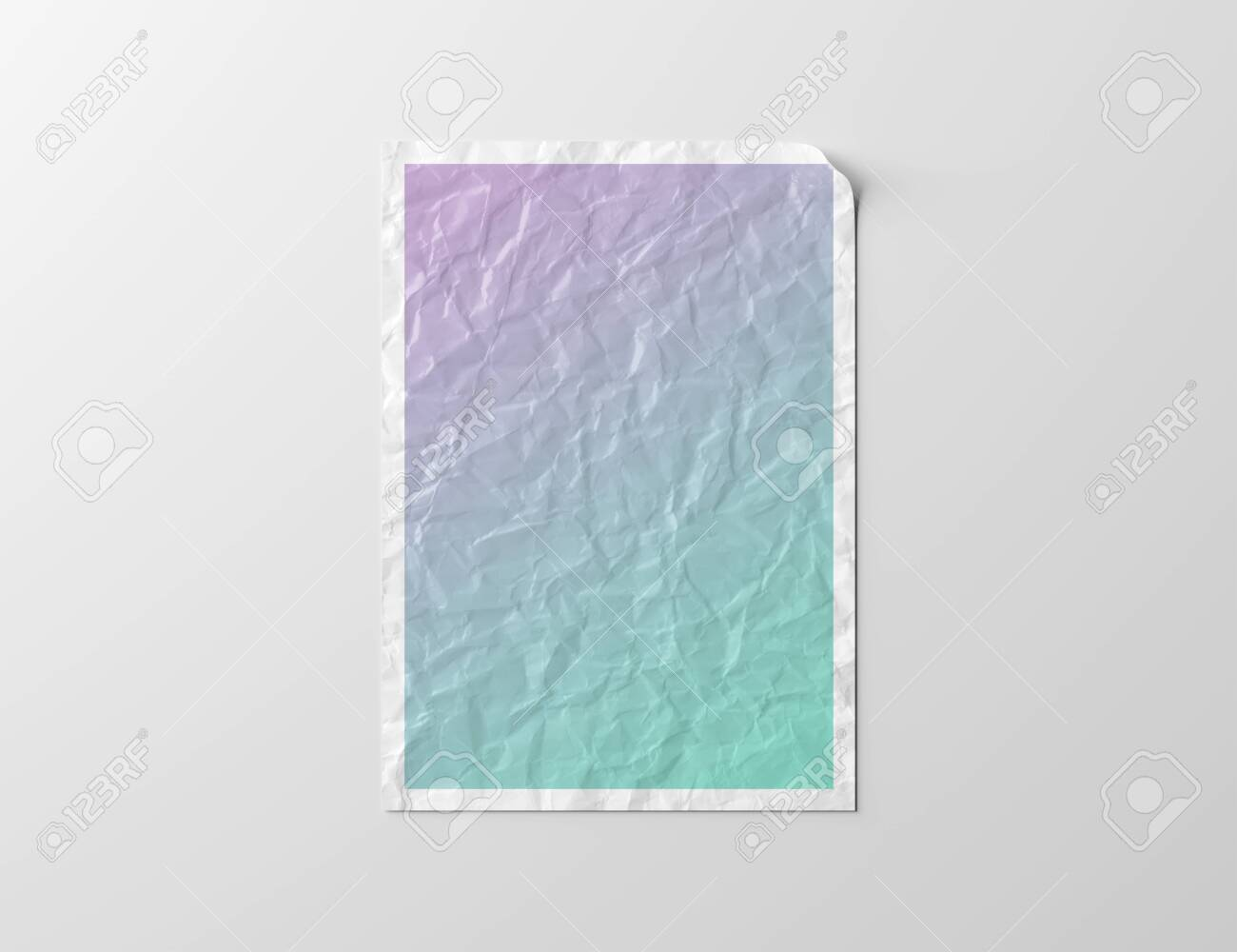 Crumpled paper poster isolated on white background Mockup 3D rendering - 150518149