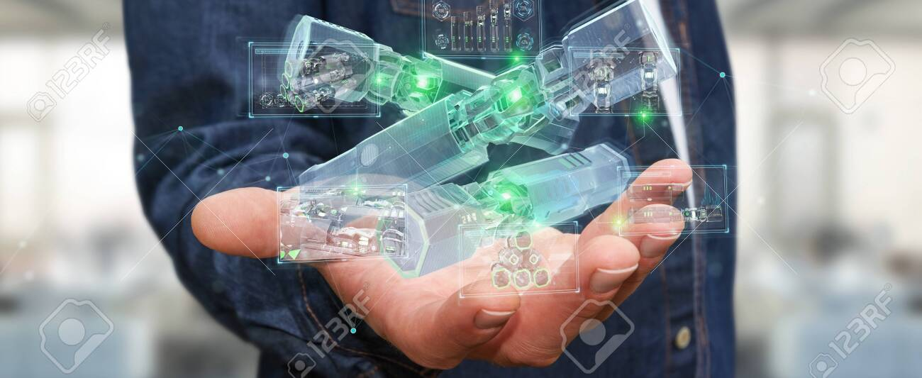 Man on blurred background holding and touching green renewable energy battery 3D rendering - 150451899