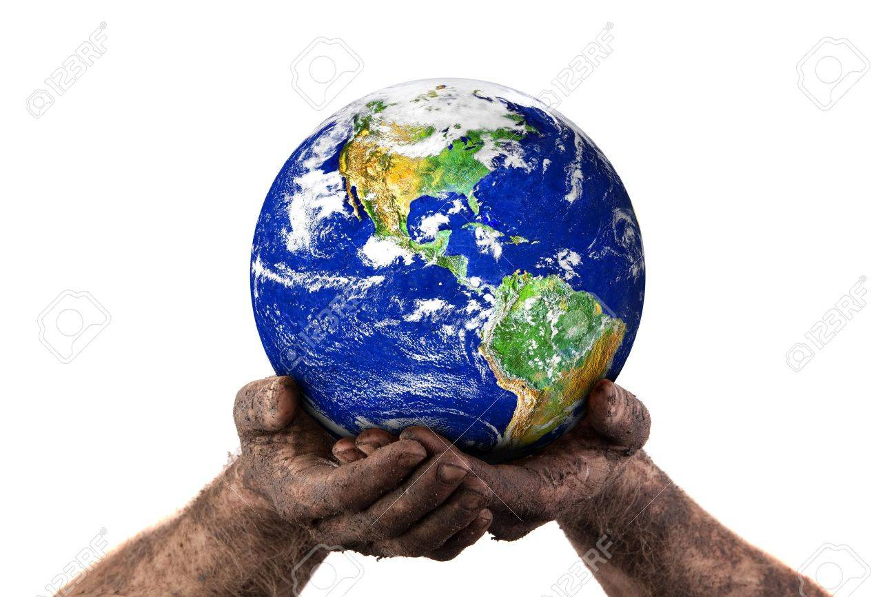 Dirty hands holding the world. Isolated on white. Earth image courtesy of NASA. - 7773507