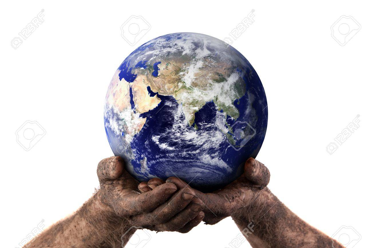 Dirty hands holding the world showing the dry middle east. Isolated on white. Earth image courtesy of NASA. Stock Photo - 7773505