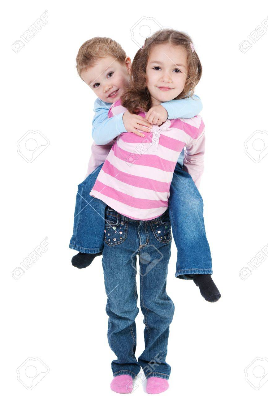 Girl carrying boy on back. Isolated on white - 9699041