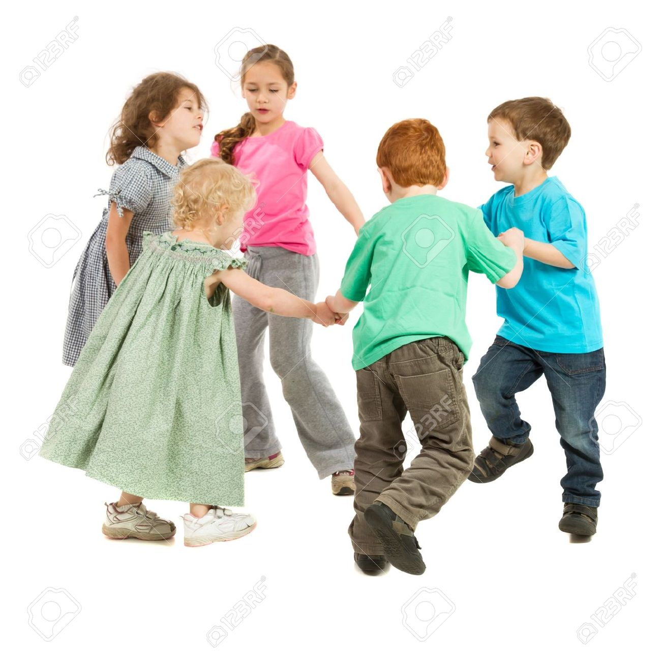 Kids holding hands and playing circle game On white - 15920287