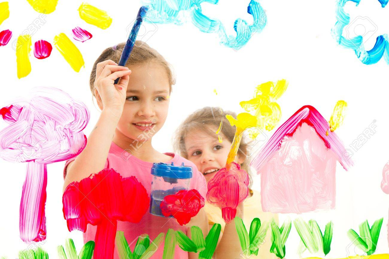 Children painting artwork on glass Isolated on white - 15920289