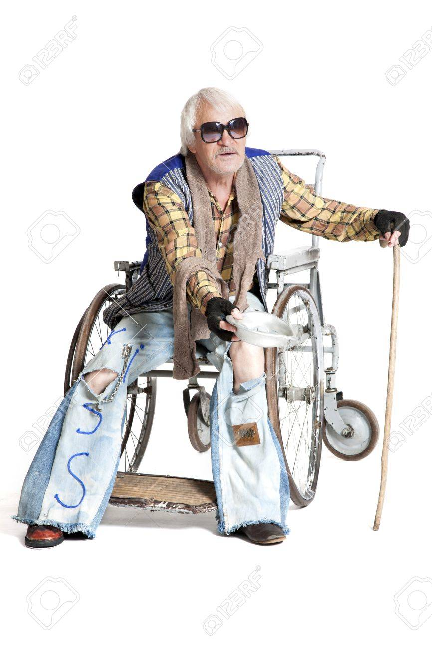 homeless man in a wheelchair asking for money Stock Photo - 21006326