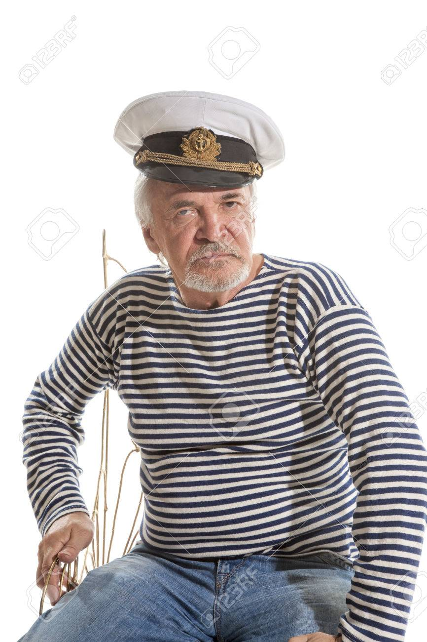 Portrait of old sailor man in striped shirt and hat isolated on white  background Stock Photo 9c18e70a1d9