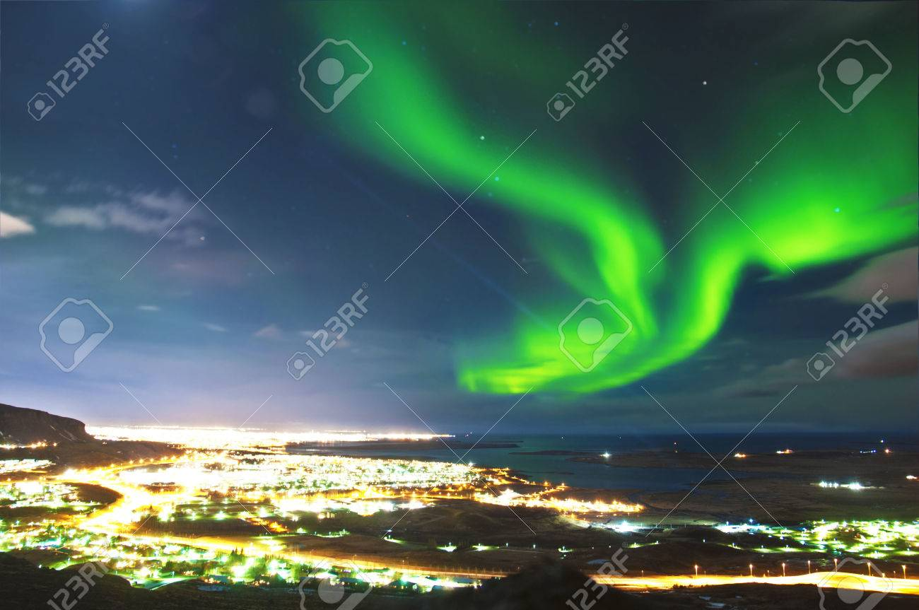 Northern lights above Reykjavik Iceland - 25828622