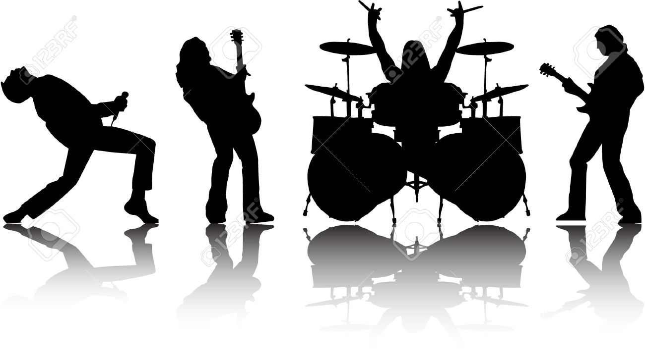 silhouettes set 8 Vector Rock Band Silhouette