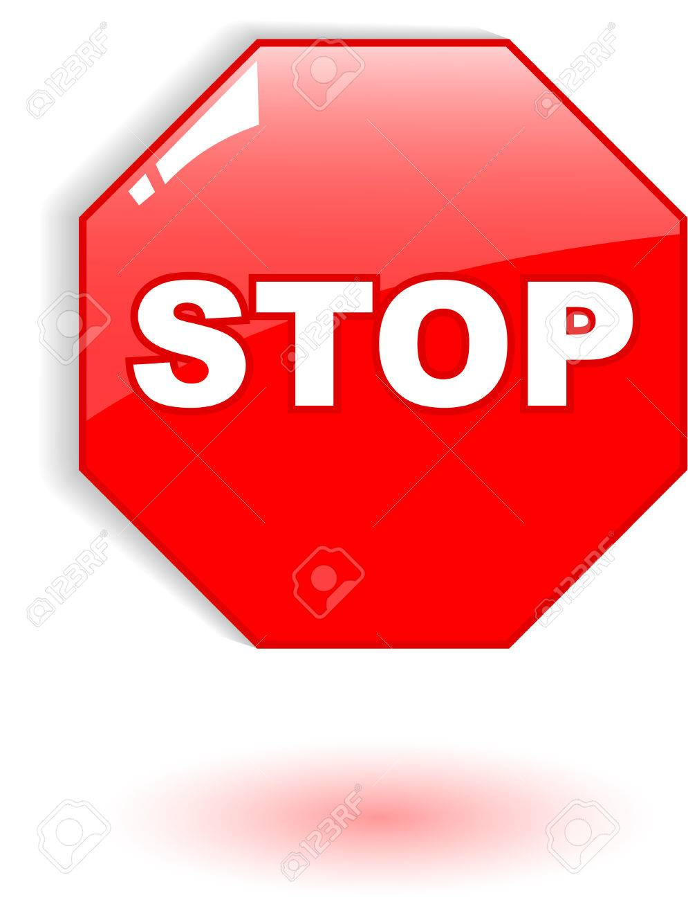 the red vector stop symbol on white - 4897694