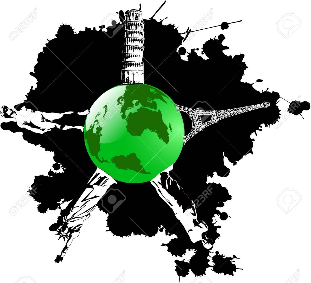 vector blot and green earth wish landmarks Stock Vector - 5059540
